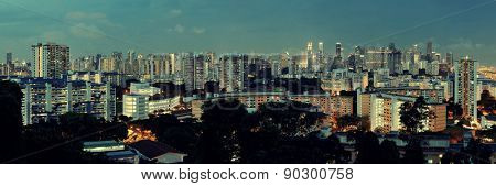 Singapore skyline from Mt Faber at night with urban buildings
