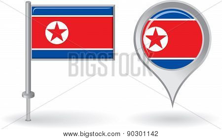 North Korean pin icon and map pointer flag. Vector