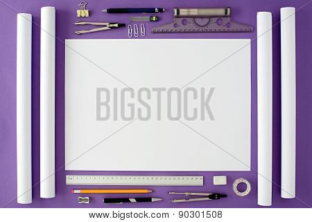 Blank Office Desk Background With Copy Space For Your Text. Top View.