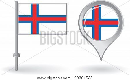 Faroe Islands pin icon and map pointer flag. Vector