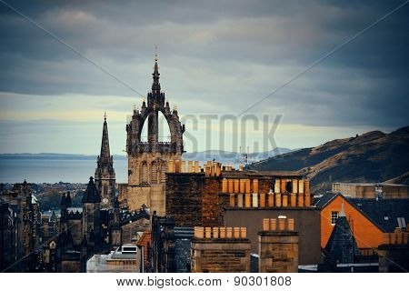 Edinburgh St Giles' Cathedral and rooftop view. United Kingdom.