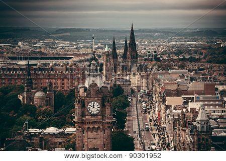 Edinburgh city street viewed from Calton Hill. United Kingdom.