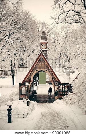 Central Park winter in midtown Manhattan New York City