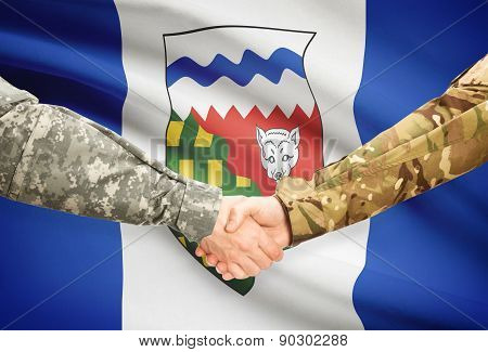 Military Handshake And Canadian Province Flag - Northwest Territories