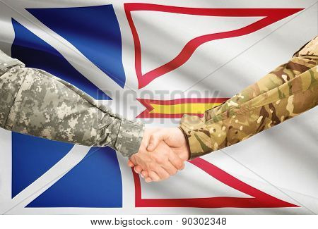 Military Handshake And Canadian Province Flag - Newfoundland And Labrador