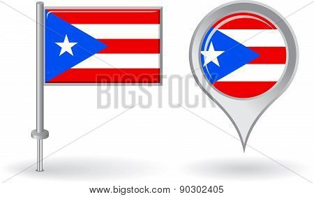 Puerto-Rican pin icon and map pointer flag. Vector