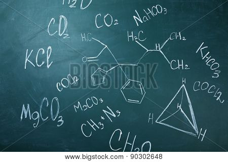 Molecule models and formulas on blackboard background