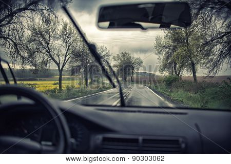 Driving Along The Motorway On A Rainy Day
