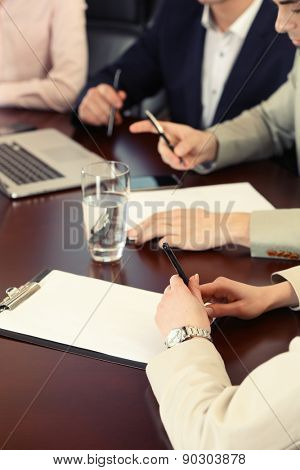 Business conference, close- up
