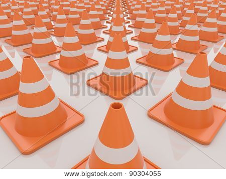 Traffic Cones Isolated On White Background, 3D Render