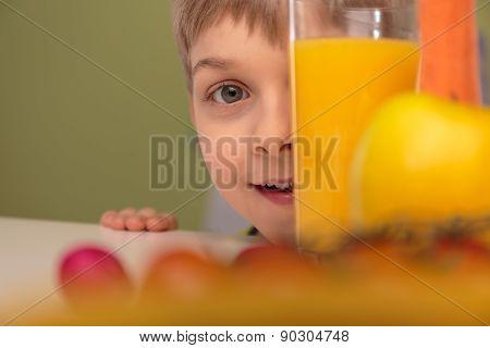Boy Hiding Behind Glass