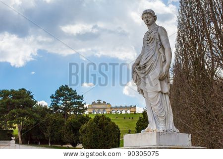 Statue From Garden Of Schonbrunn Palace And Gloriette