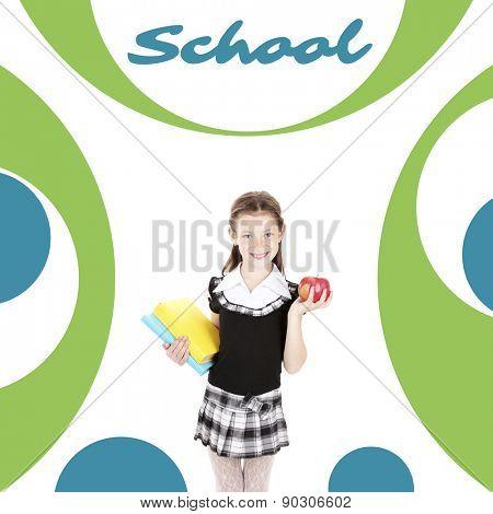 School concept. Schoolgirl on abstract background