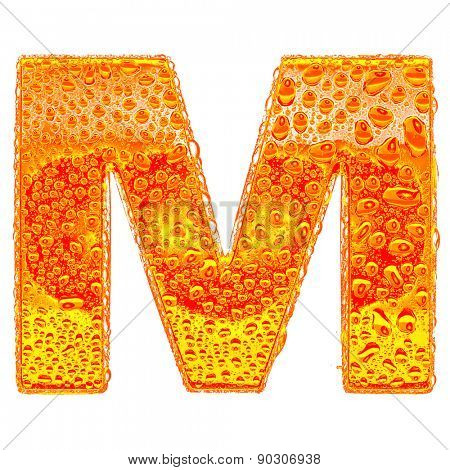 Fresh Orange alphabet symbol - letter M. Water splashes and drops on transparent glass - color of brandy , cognac, liquor, cola, beer or tea. Isolated on white