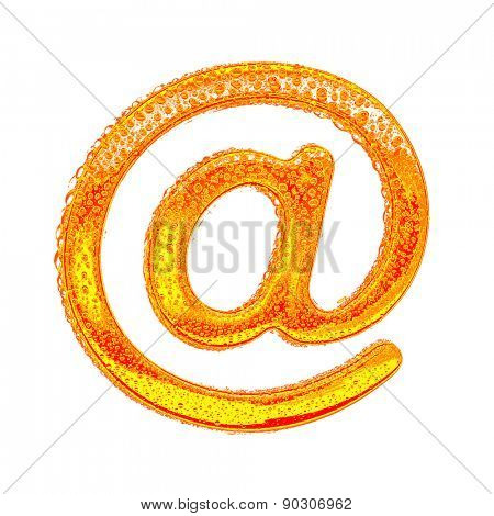 Fresh Orange alphabet symbol - e-mail. Water splashes and drops on transparent glass - color of brandy , cognac, liquor, cola, beer or tea. Isolated on white