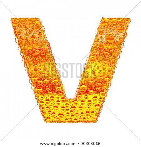 Fresh Orange alphabet symbol - letter V. Water splashes and drops on transparent glass - color of brandy , cognac, liquor, cola, beer or tea. Isolated on white