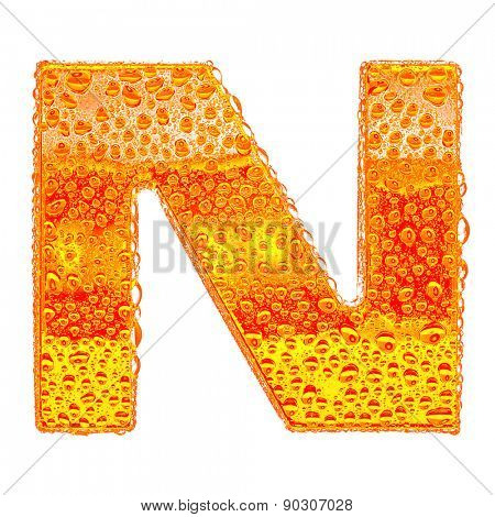 Fresh Orange alphabet symbol - letter N. Water splashes and drops on transparent glass - color of brandy , cognac, liquor, cola, beer or tea. Isolated on white