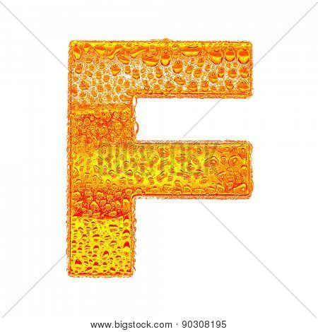 Fresh Orange alphabet symbol - letter F. Water splashes and drops on transparent glass - color of brandy , cognac, liquor, cola, beer or tea. Isolated on white