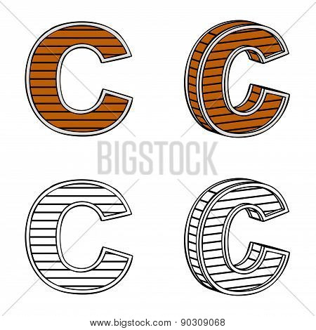 Letter C (a Block Of Wood)