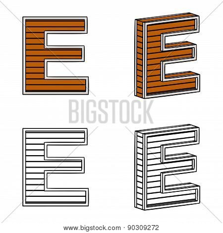 Letter E (a Block Of Wood)