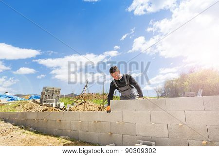 Man building a house
