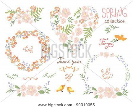 Wedding graphic set, wreath, flowers, bird and labels. Romantic floral se