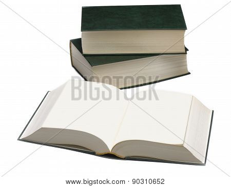 Three books-dictionary are isolated on white background