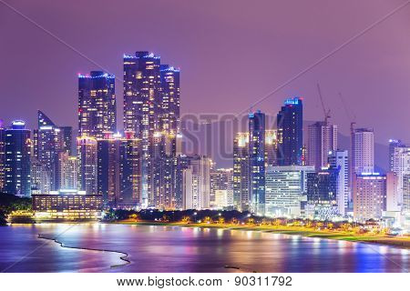 Busan, South Korea skyline at Haeundae District