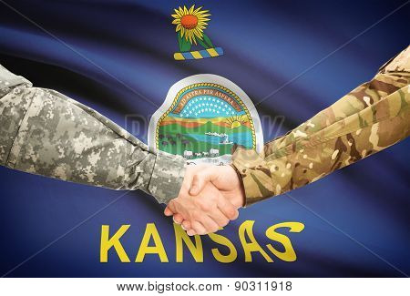 Military Handshake And Us State Flag - Kansas