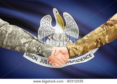 Military Handshake And Us State Flag - Louisiana