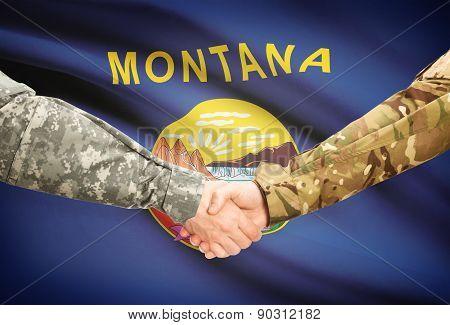Military Handshake And Us State Flag - Montana