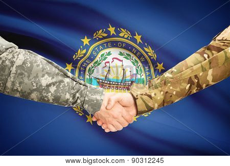Military Handshake And Us State Flag - New Hampshire