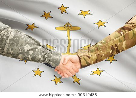 Military Handshake And Us State Flag - Rhode Island