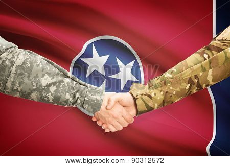 Military Handshake And Us State Flag - Tennessee