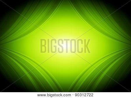 Abstract green waves tech background. Vector design