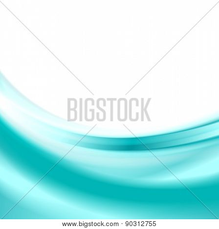 Abstract elegant cyan blue smooth waves background. Vector design