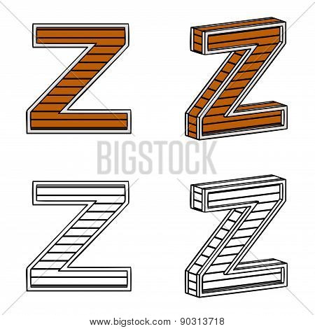 Letter Z (a Block Of Wood)