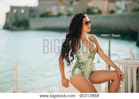 Luxury Fashion Sexy Bikini Model On Sunbed Chill Out