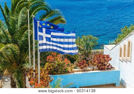 Greece and European Union flag, plam tree
