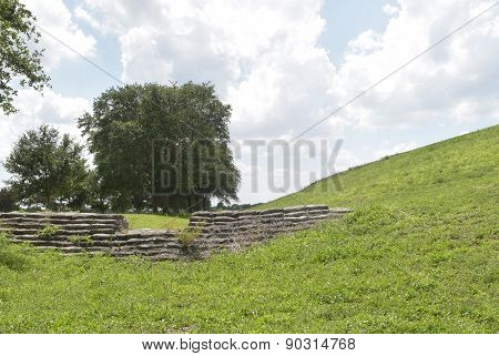 View of Stone Structure in Park Setting under the hill in Florida.