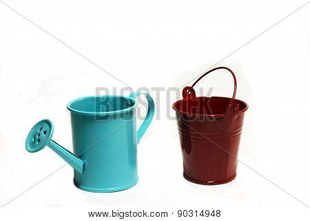 Handshower And Garden Bucket On A White Background