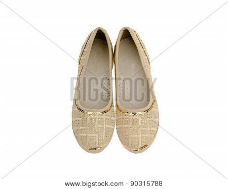 Beige  Shoes For Girls Isolated On White Background