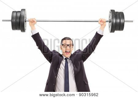 Strong businessman lifting a heavy weight isolated on white background