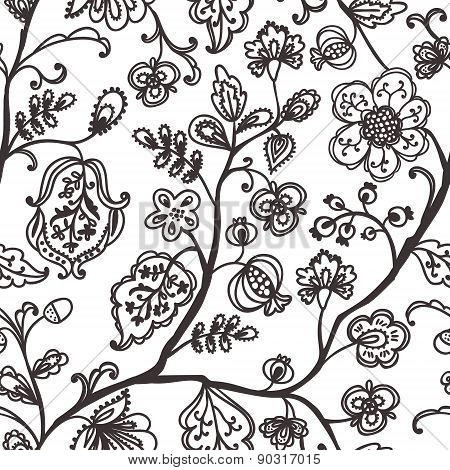 Floral seamless pattern. Beautiful vector hand drawn background