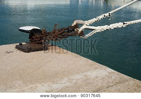 Industrial rusty mooring chain