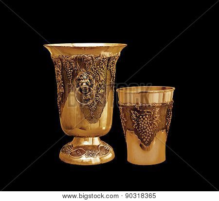 Vase And Bowl On A Black Background