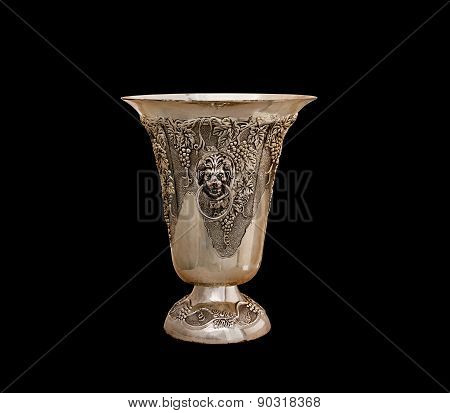 Vase From Silver On A Black Background