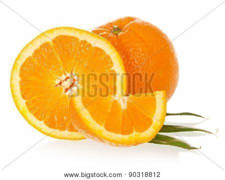 The macro foto of the cut orange