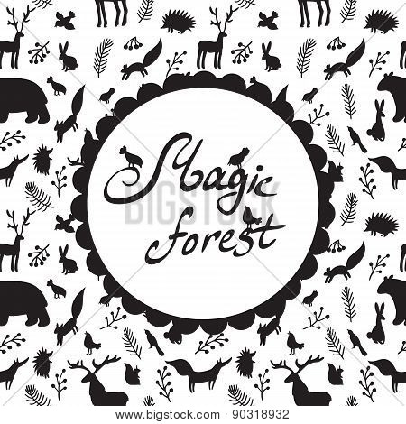 magic forest pattern with silhouettes of animals