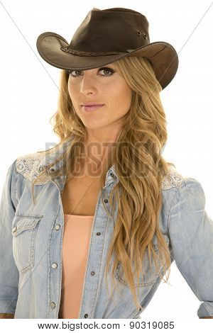 Cowgirl With Long Blond Hair Close Looking